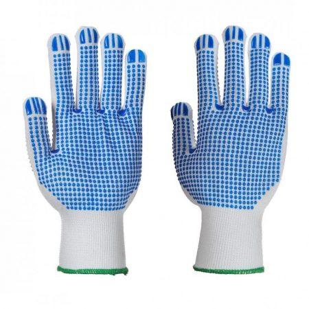 A113WBRS-XL    Poloka Dot Plus kesztyű  Nylon (rugalmas műanyag fonal kötött anyagból készült árukhoz), PVC (polivinilklorid pontozás)  fehér / kék    S-XL  (PW)