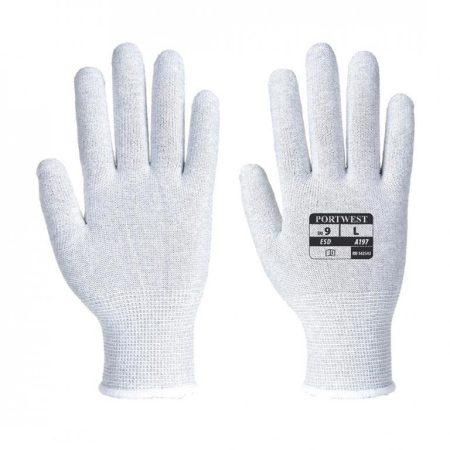 A197GRRM   Bevonat nélküli ESD kesztyű  Nylon (rugalmas műanyag fonal kötött árukhoz), Szénszál  szürke    M  (PW)