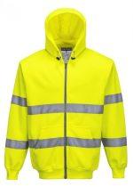 B305YERS   Hi-Vis zipzáros pulóver  65% poliészter 35% pamut 300g  sárga    S-3XL  (PW)