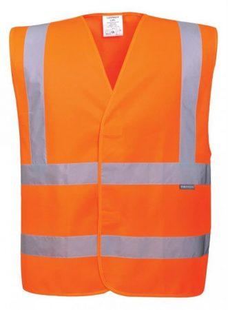C470ORR4X/5X    Jól láthatósági két csíkos mellény  100% poliészter  narancs    4X/5X  (PW)
