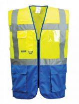 555f62edf0 C476YRBS-XXXL Jól láthatósági Warsaw vezetői mellény 100% poliészter sárga  / royal kék S