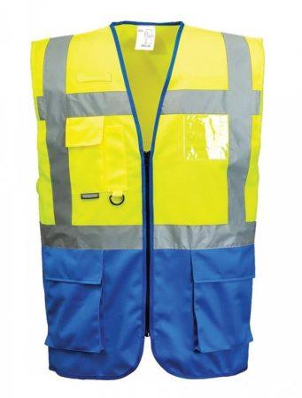 C476YRBL    Jól láthatósági Warsaw vezetői mellény  100% poliészter  sárga / royal kék    L  (PW)
