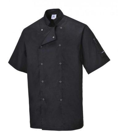 C733BKRXS-4XL   Cumbria séf kabát  Kingsmill 190g, 65% poliészter, 35% pamut  fekete    XS-4XL  (PW)