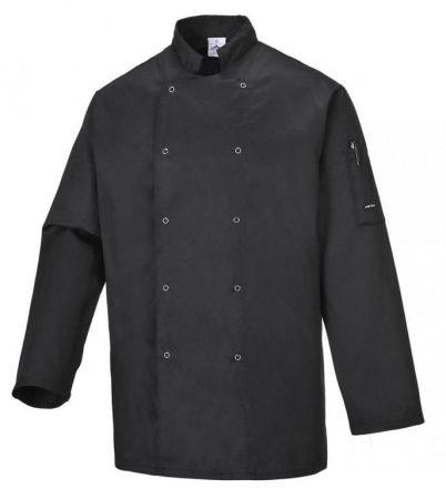 C833BKRXS   Suffolk séf kabát  Kingsmill 65% poliészter 35% pamut 245g  fekete    XS  (PW)