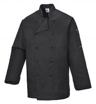 C834BKRXS-XXXL   Somerset séf kabát  Kingsmill 65% poliészter 35% pamut 245g  fekete    XS-XXXL  (PW)