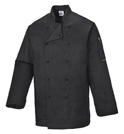 C834BKRXXL   Somerset séf kabát  Kingsmill 65% poliészter 35% pamut 245g  fekete    2XL  (PW)