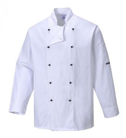 C834WHRXL   Somerset séf kabát  Kingsmill 65% poliészter 35% pamut 245g  fehér    XL  (PW)