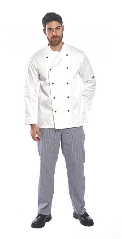 C834WHRXXS-4XL Somerset séf kabát Kingsmill 65% poliészter 35% pamut 245g  fehér XXS-4XL ... b73814e336