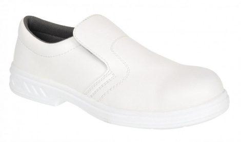 FW81WHR43   Vízálló (fűző nélküli) bebújós védőcipő, S2  30 fokon gépileg mosható, de nem centrifugálható un. Microfibre anyag  fehér    43  (PW)