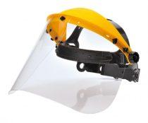 PW91CLR   Arcvédő homlokpánttal  polikarbonát látómező vagy háló látómező  víztiszta    190x405  (PW)