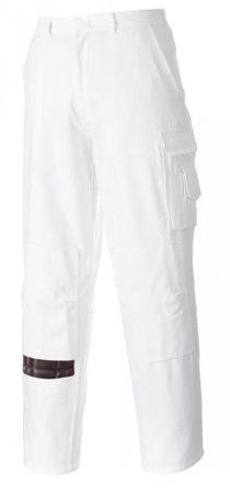 S817WHTXS-XXXL   Festő nadrág  100%  pamut  3111 beavatott pamut 305g/m  fehér    XS-XXXL  (PW)